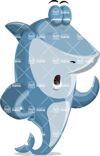 Shark Cartoon Vector Character - 112 Poses - Feeling Tired