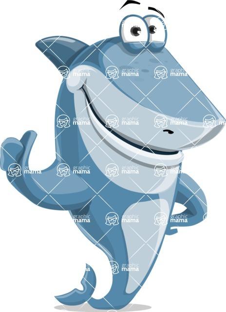 Shark Cartoon Vector Character - 112 Poses - Giving Thumbs Up