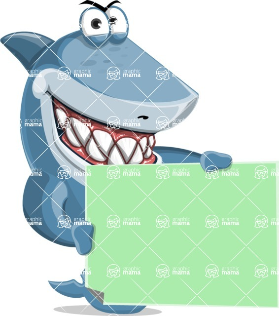 Shark Cartoon Vector Character AKA Sharko Polo - Holding a Blank Presentation Sign with Both Hands
