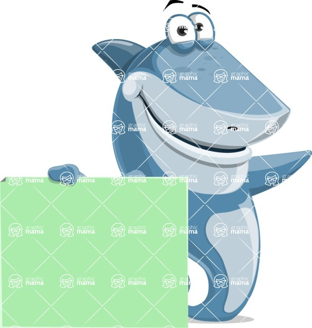 Shark Cartoon Vector Character AKA Sharko Polo - Holding a Blank Sign and Pointing