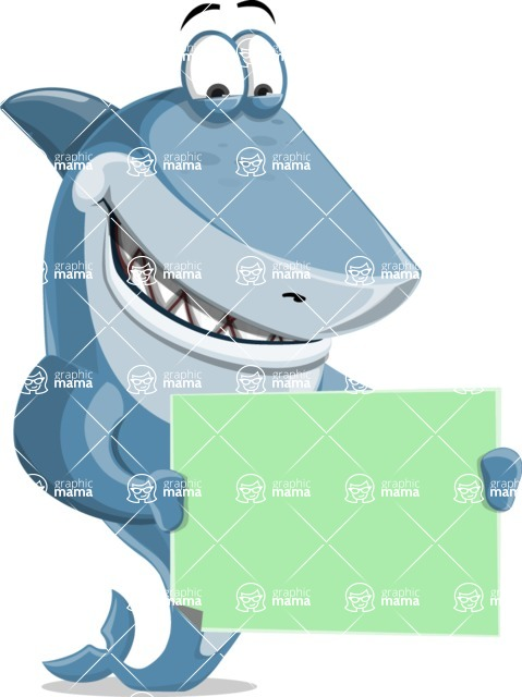Shark Cartoon Vector Character - 112 Poses - Holding a Blank Sign