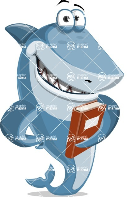 Shark Cartoon Vector Character AKA Sharko Polo - Holding a Book