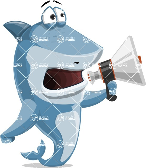 Shark Cartoon Vector Character AKA Sharko Polo - Holding a Loudspeaker