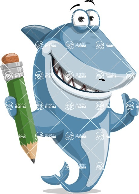 Shark Cartoon Vector Character AKA Sharko Polo - Holding a Pencil