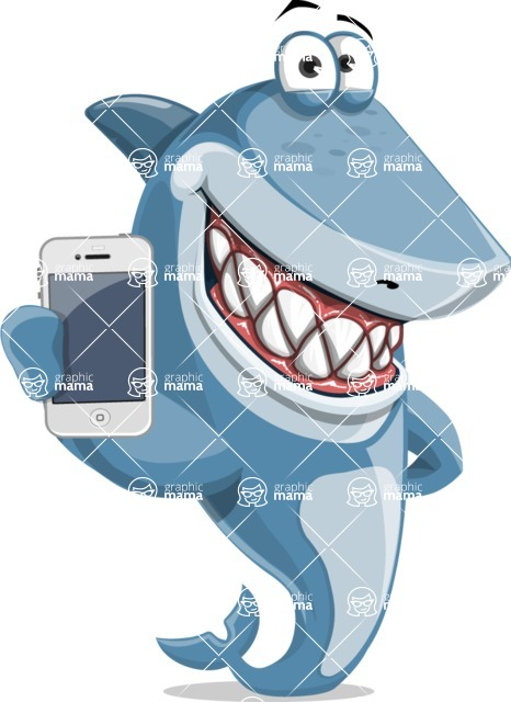 Shark Cartoon Vector Character AKA Sharko Polo - Holding a Phone
