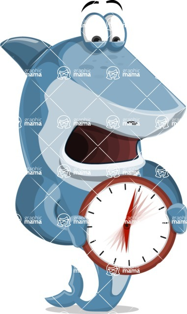Shark Cartoon Vector Character AKA Sharko Polo - Holding Clock
