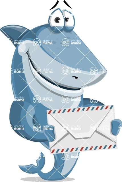 Shark Cartoon Vector Character AKA Sharko Polo - Holding Mail Envelope