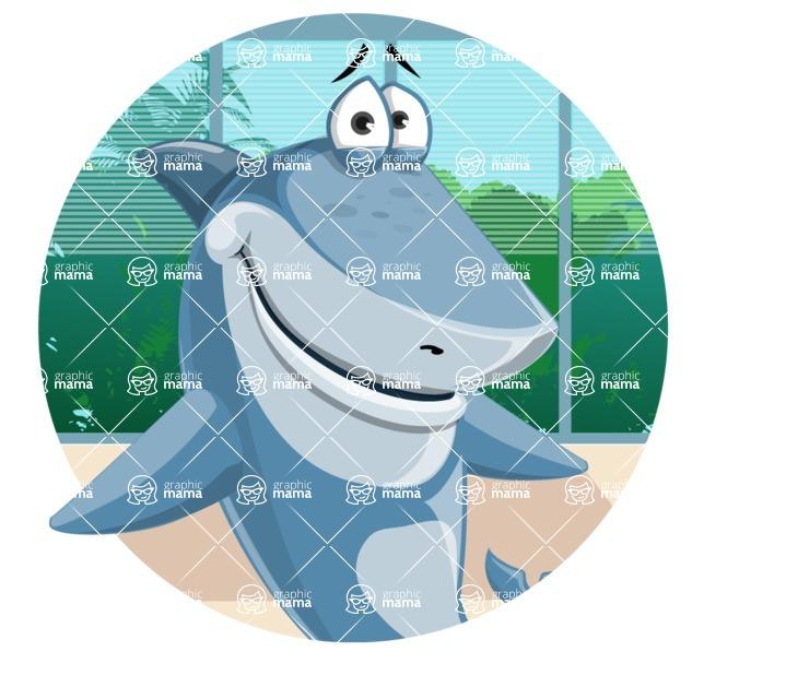 Shark Cartoon Vector Character AKA Sharko Polo - In Office Background