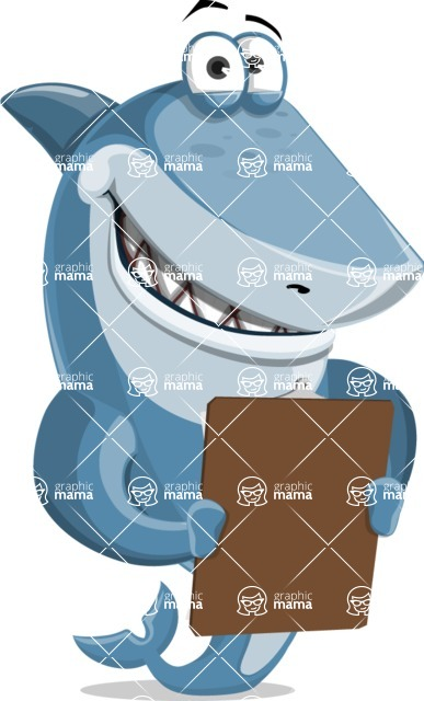 Shark Cartoon Vector Character AKA Sharko Polo - Looking at a Notepad