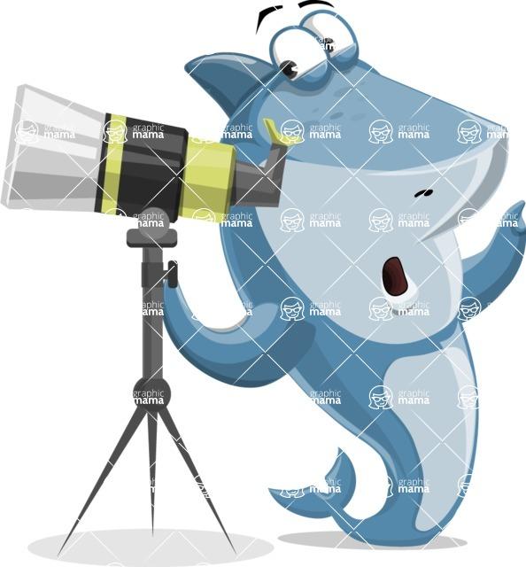 Shark Cartoon Vector Character AKA Sharko Polo - Looking Through a Telescope