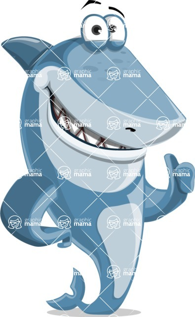 Shark Cartoon Vector Character AKA Sharko Polo - Making a Point