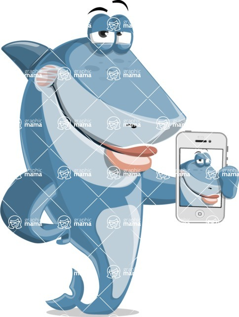 Shark Cartoon Vector Character AKA Sharko Polo - Making a Selfie with a Phone