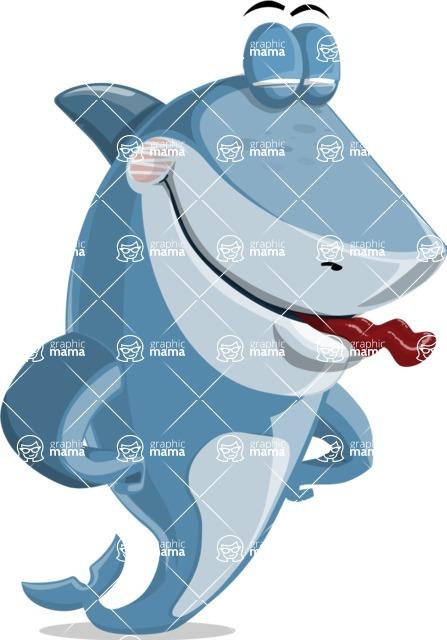 Shark Cartoon Vector Character AKA Sharko Polo - Making Funny Face