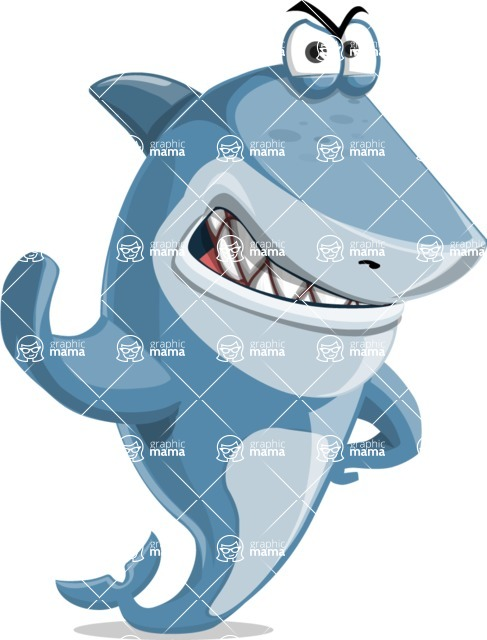 Shark Cartoon Vector Character - 112 Poses - Making Stop with a Hand