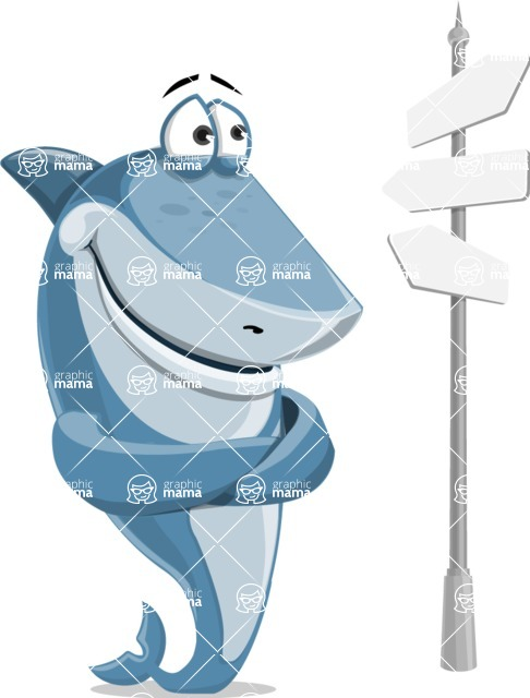 Shark Cartoon Vector Character AKA Sharko Polo - On a Crossroad with Road Signs Pointing in All Directions