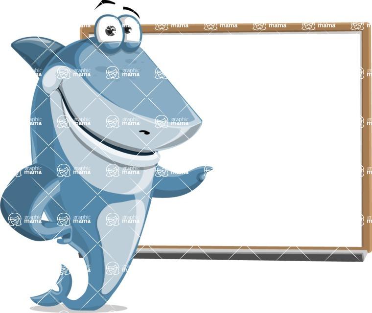 Shark Cartoon Vector Character AKA Sharko Polo - Pointing to a Blank Whiteboard