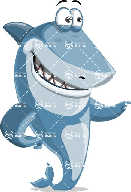 Shark Cartoon Vector Character - 112 Poses - Pointing with a Hand