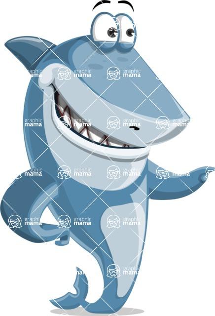Shark Cartoon Vector Character AKA Sharko Polo - Pointing with a Hand