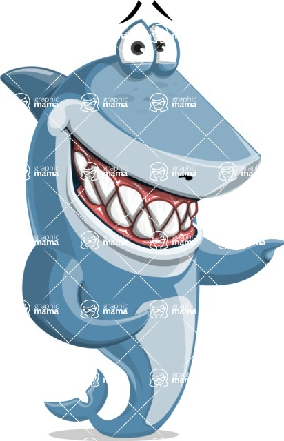 Shark Cartoon Vector Character AKA Sharko Polo - Pointing with Both Hands