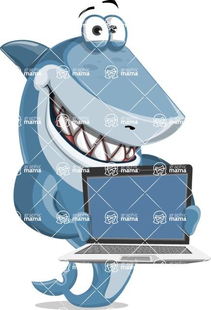 Shark Cartoon Vector Character - 112 Poses - Presenting on Laptop