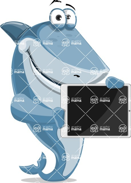 Shark Cartoon Vector Character AKA Sharko Polo - Presenting on Tablet