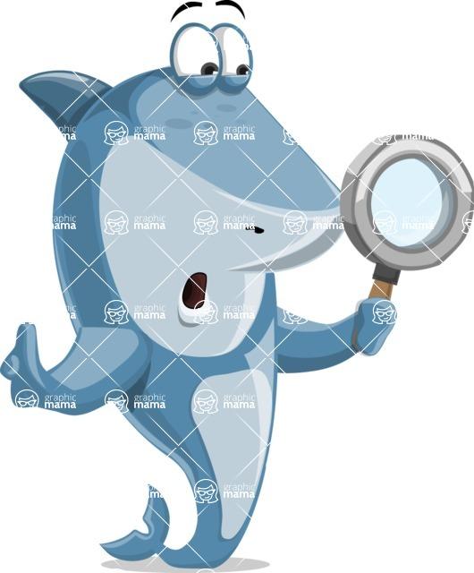 Shark Cartoon Vector Character AKA Sharko Polo - Searching with Magnifying Glass