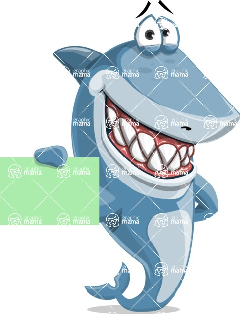 Shark Cartoon Vector Character - 112 Poses - Showing a Blank Business Card