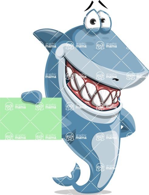 Shark Cartoon Vector Character AKA Sharko Polo - Showing a Blank Business Card