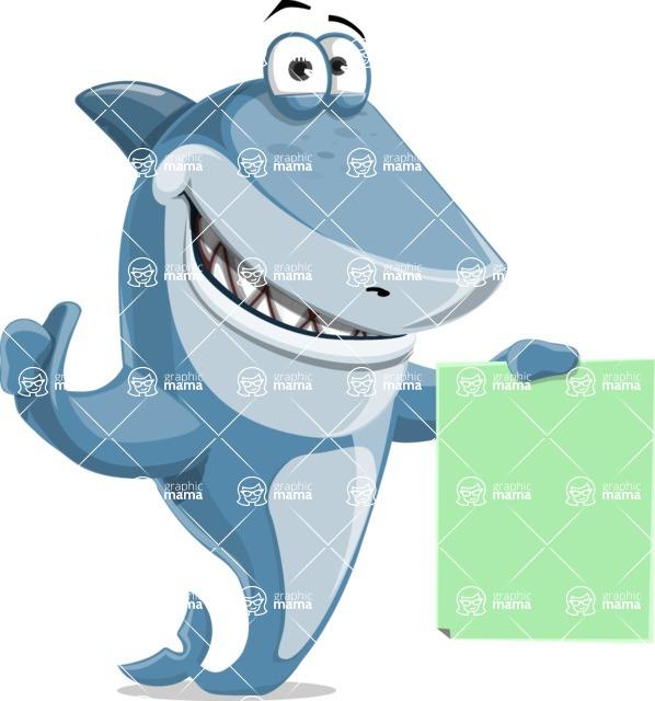 Shark Cartoon Vector Character AKA Sharko Polo - Showing a Blank Sign