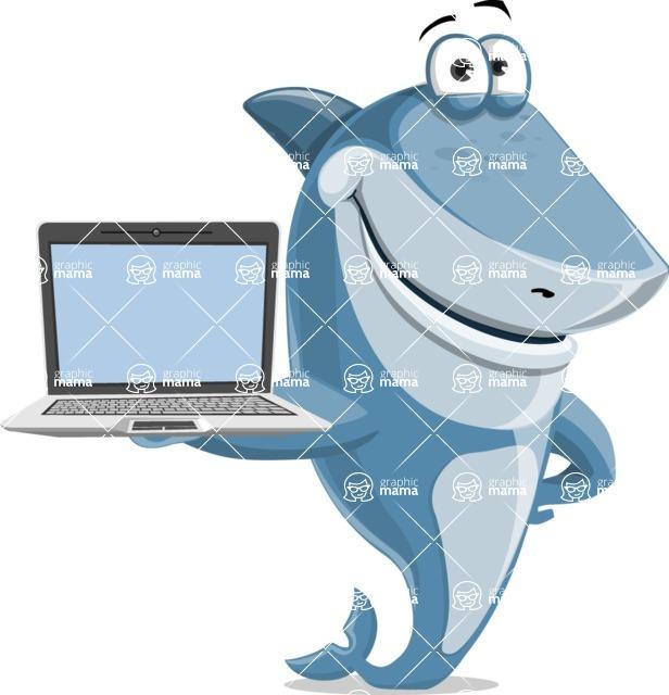 Shark Cartoon Vector Character - 112 Poses - Showing a Laptop Screen