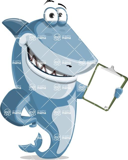 Shark Cartoon Vector Character AKA Sharko Polo - Showing a Notepad