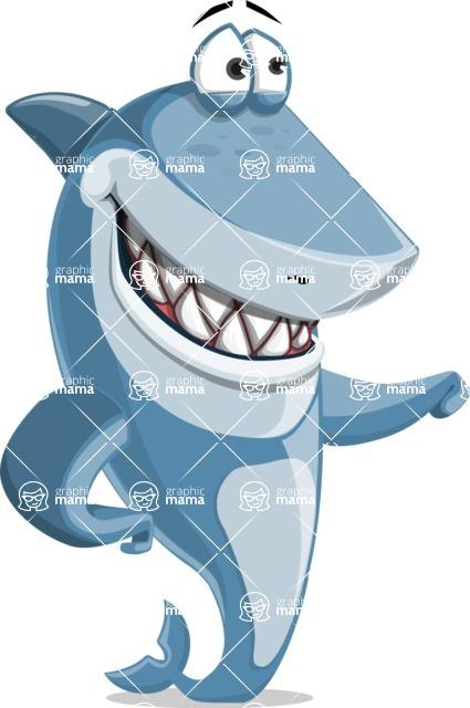 Shark Cartoon Vector Character AKA Sharko Polo - Showing and Looking at the Same Direction
