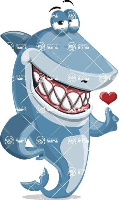 Shark Cartoon Vector Character AKA Sharko Polo - Showing Love