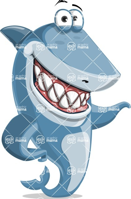 Shark Cartoon Vector Character - 112 Poses - Showing with a Smile