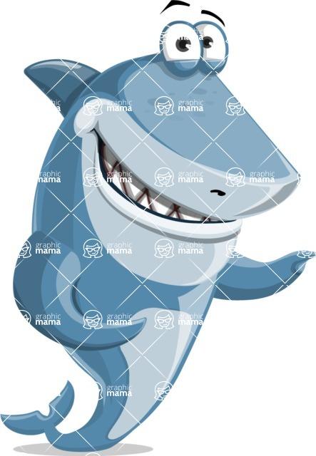 Shark Cartoon Vector Character AKA Sharko Polo - Showing with Both Hands
