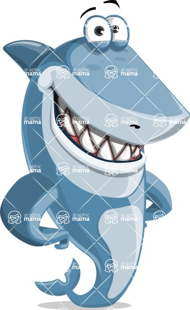 Shark Cartoon Vector Character - 112 Poses - Smiling