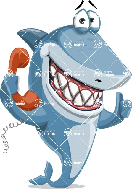 Shark Cartoon Vector Character - 112 Poses - Talking on Phone