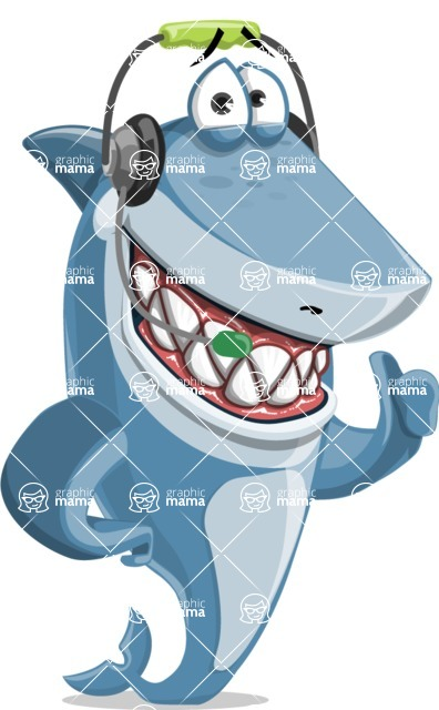 Shark Cartoon Vector Character AKA Sharko Polo - Talking with Headphones