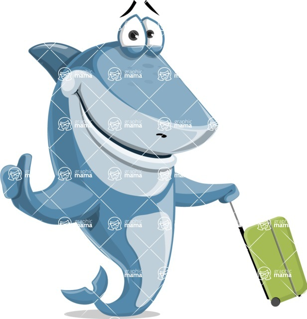 Shark Cartoon Vector Character - 112 Poses - Traveling on a Summer Vacation