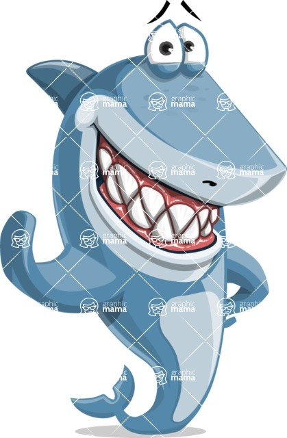 Shark Cartoon Vector Character - 112 Poses - Waving for Hello with a Hand