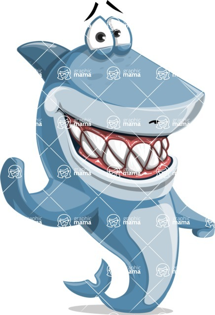 Shark Cartoon Vector Character - 112 Poses - Waving with a Smile