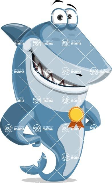 Shark Cartoon Vector Character AKA Sharko Polo - Winning Prize - The Best Shark