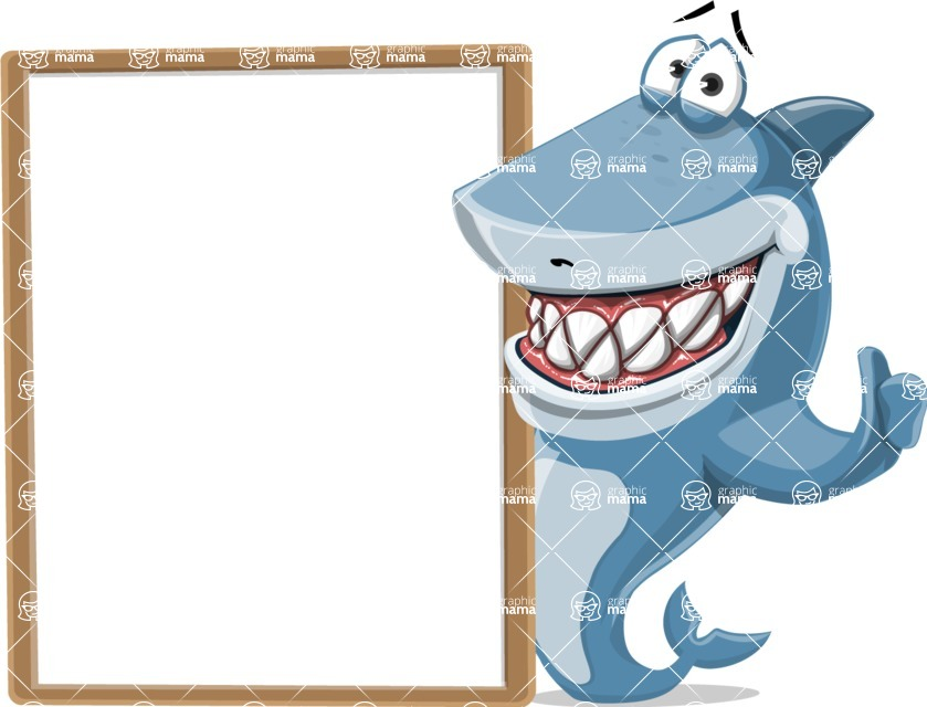 Shark Cartoon Vector Character - 112 Poses - With a Blank Board