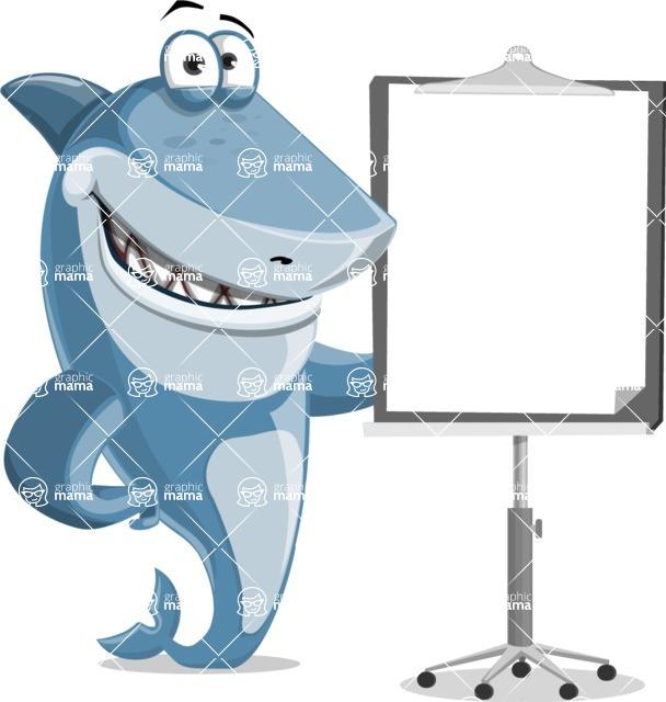 Shark Cartoon Vector Character AKA Sharko Polo - With a Blank Presentation Board
