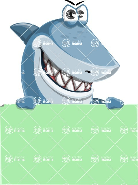 Shark Cartoon Vector Character AKA Sharko Polo - With a Blank Presentation Sign