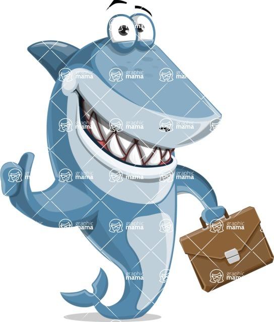 Shark Cartoon Vector Character AKA Sharko Polo - With a Business Briefcase