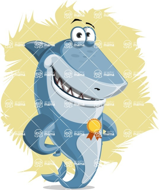 Shark Cartoon Vector Character AKA Sharko Polo - With a Flat One Color Background