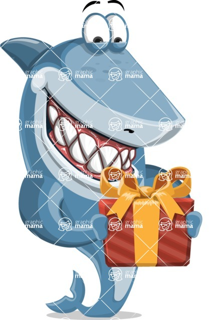 Shark Cartoon Vector Character AKA Sharko Polo - With a Gift