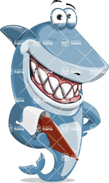 Shark Cartoon Vector Character AKA Sharko Polo - With a Notepad