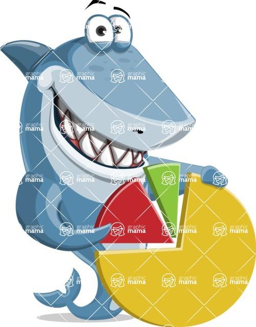 Shark Cartoon Vector Character AKA Sharko Polo - With a Pie Chart